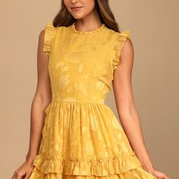 True as Can Be Mustard Yellow Burnout Floral Ruffled Mini Dress | Lulus (US)