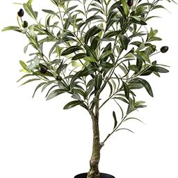 Artificial Olive Tree Plants 32 Inch Fake Olive Branch Leaves Topiary Silk Tree Faux Plant Decor | Amazon (US)