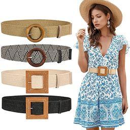 JASGOOD Straw Woven Elastic Stretch Belt for Women, Fashion Skinny Dress Boho Belt with Wooden St... | Amazon (US)