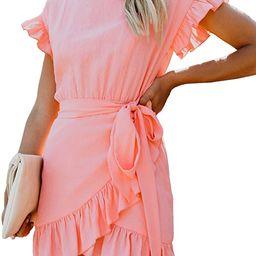 Relipop Women's Dress Solid Fishtail Short Sleeve Wrap Ruffle Hem Mini Short Dresses | Amazon (US)