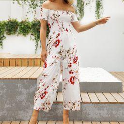 Sucrefas Women's Jumpsuits White - White Floral Off-Shoulder Jumpsuit - Women | Zulily