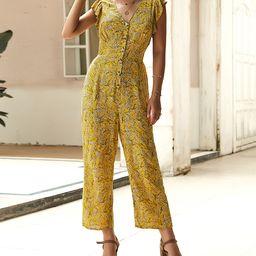 Gaovot Women's Jumpsuits yellow - Yellow Floral Flutter-Sleeve Crop Jumpsuit - Women | Zulily