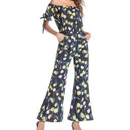 Maison Mascallier Women's Jumpsuits Navy - Navy & Yellow Floral Strapless Jumpsuit - Women | Zulily
