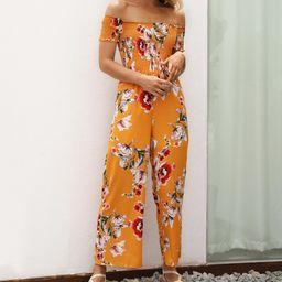 Sucrefas Women's Jumpsuits Yellow - Yellow Floral Off-Shoulder Jumpsuit - Women | Zulily