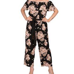 I am sunshine Women's Jumpsuits Black - Black & Pink Floral Off-Shoulder Jumpsuit - Women | Zulily