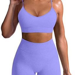OQQ Yoga Outfit for Women Seamless 2 Piece Workout Gym High Waist Leggings with Sport Bra Set | Amazon (US)