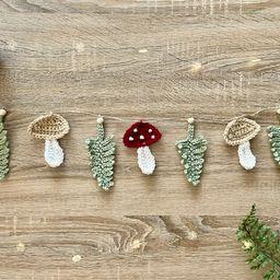 Crochet Mushroom Garland | Wall Hanging | Home Decor | Etsy (US)