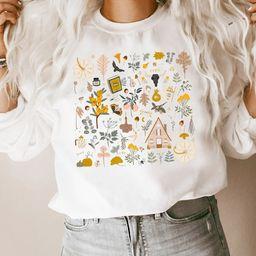 Fall Sweatshirt,Autumn Favorites,Doodles Pumpkins,Botany Fall Little Things,Long Sleeve Pullover,... | Etsy (US)