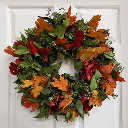 """Dried Fall Leaves and Salal Wreath, 20"""" 