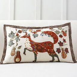 Fox Embroidered Lumbar Pillow Cover | Pottery Barn (US)