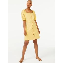 Free Assembly Women's Square Neck Dress with Puff Sleeves   Walmart (US)