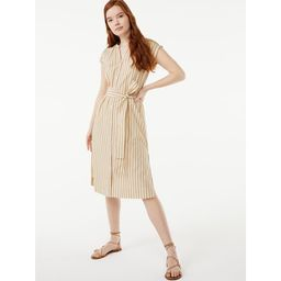 Free Assembly Women's Shirred Midi Shirtdress   Walmart (US)
