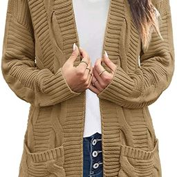 MEROKEETY Women's Long Sleeve Cable Knit Cardigan Sweaters Open Front Fall Outwear with Pockets | Amazon (US)