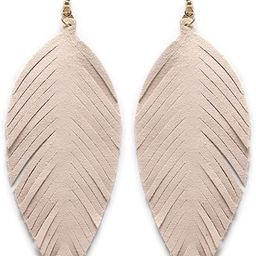 Miracle Collection Large Genuine Soft Leather Handmade Fringe Feather Lightweight Tear Drop Dangl... | Amazon (US)