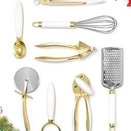 White & Gold Kitchen Tools and Gadgets - Luxe 8PC Cooking Tools and Gadgets with Anti-Slip Handle... | Amazon (US)