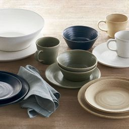 Larkin Reactive Glaze Stoneware Dinnerware Collection | Pottery Barn (US)
