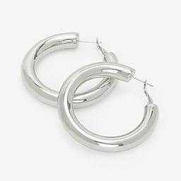 Thick Metal Medium Hoop Earrings   Express