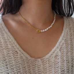 Toggle Clasp Pearl Chain Necklace, Gold Toggle Necklace, Pearl Choker Necklace, Paperclip Chain N...   Etsy (US)