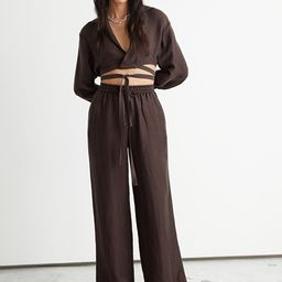 Linen Drawstring Trousers   & Other Stories