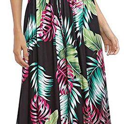 HUSKARY Womens Sleeveless V Neck Spaghetti Strap Pockets Beach Boho Tropical Summer Maxi Dress | Amazon (US)
