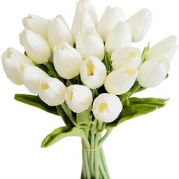 """Mandy's 20pcs White Artificial Tulip Silk Flowers 13.5"""" for Home Kitchen Wedding Decorations 