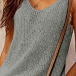 Women's V Neck Tank Tops Casual Sleeveless Tunic Shirts Basic Ribbed Tie Shoulder Strappy Knit Ca...   Amazon (US)