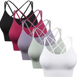 Enjoyoself Womens Yoga Bra Strappy Sports Bra Pack Workout Tops for Fitness Running Athletic Gym | Amazon (US)