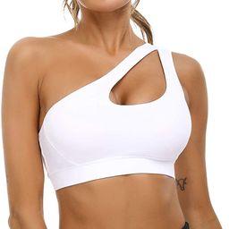 Sykooria Womens One Shoulder Sports Bras Workout Yoga Bra Sexy Cute Medium Support | Amazon (US)