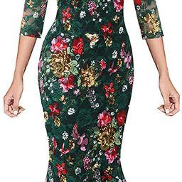 Amazon.com: VFSHOW Womens Green Lace Multi Floral Print Cocktail Party Casual Elegant Vintage Bod...   Amazon (US)