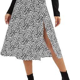 Amazon.com: SweatyRocks Women's Casual Dalmatian Print High Side Split A-Line Chiffon Midi Skirt ...   Amazon (US)