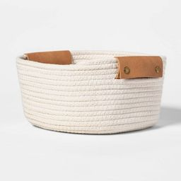 """11"""" Decorative Coiled Rope Square Base Tapered Basket with Leather Handles Small White - Threshol... 