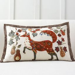 Fox Embroidered Lumbar Pillow Cover   Pottery Barn (US)
