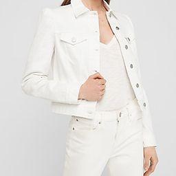White Puff Sleeve Denim Trucker Jacket | Express