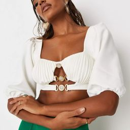 White Cupped Diamante Front Crop Top   Missguided (UK & IE)