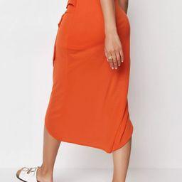 Orange Tie Wrap Mesh Midi Skirt   Missguided (UK & IE)
