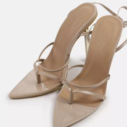 Sand Pointed Toe Tie Up Heeled Sandals   Missguided (UK & IE)