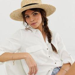 ASOS DESIGN natural straw easy boater with size adjuster | ASOS (Global)