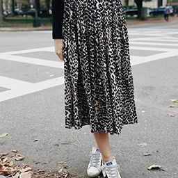 The Drop Women's Leopard Print Pleated Pull-On Midi Skirt by @somewherelately   Amazon (US)