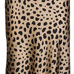 Soowalaoo High Waist Leopard Midi Skirt Hidden Elasticized Waistband Silk Satin Skirts   Amazon (US)