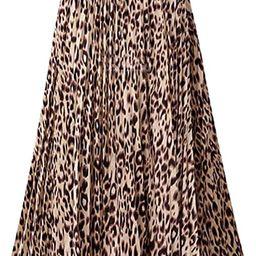 Womens Skirt Leopard Print Midi Long Shirring Skirts High Waisted A Line Skirts   Amazon (US)