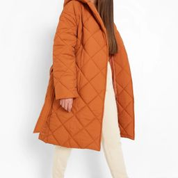 Diamond Quilted Belted Puffer | Boohoo.com (US & CA)