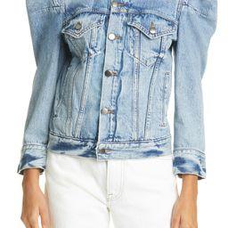 Rosette Puff Sleeve Denim Jacket | Nordstrom