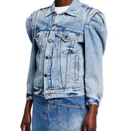 Rosette-Sleeve Denim Jacket | Neiman Marcus
