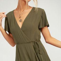 Harbor Point Olive Green Wrap Dress   Lulus (US)