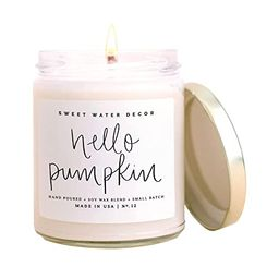 Sweet Water Decor Hello Pumpkin Candle   Pumpkin, Apple, Warm Spices, Vanilla, Fall Scented Soy C...   Amazon (US)