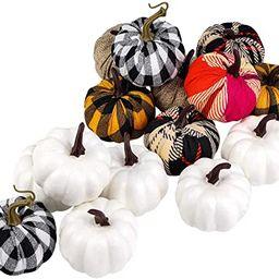 ELCOHO 16 Pieces Small Fabric Lifelike Pumpkins Mini Artificial Pumpkins Home Decoration Set Fall...   Amazon (US)