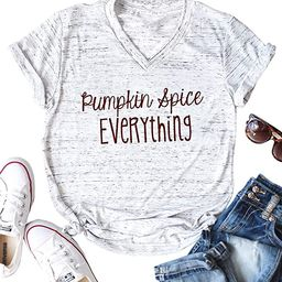 Pumpkin Spice Everything Funny T-Shirt Women Casual Thanksgiving Pumpkin Blouse Tops Tee   Amazon (US)