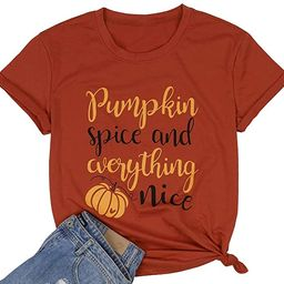 Pumpkin Spice and Everything Nice Shirts Women Cute Pumpkin Graphic Letters Print Casual Short Sl...   Amazon (US)