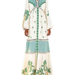 Palm Tree Embroidered Maxi Dress | Neiman Marcus