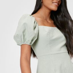Puff Sleeve Linen Look Mini Dress | NastyGal